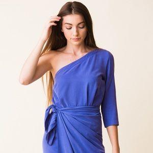 Mara Hoffman Shirley one shoulder tie dress blue